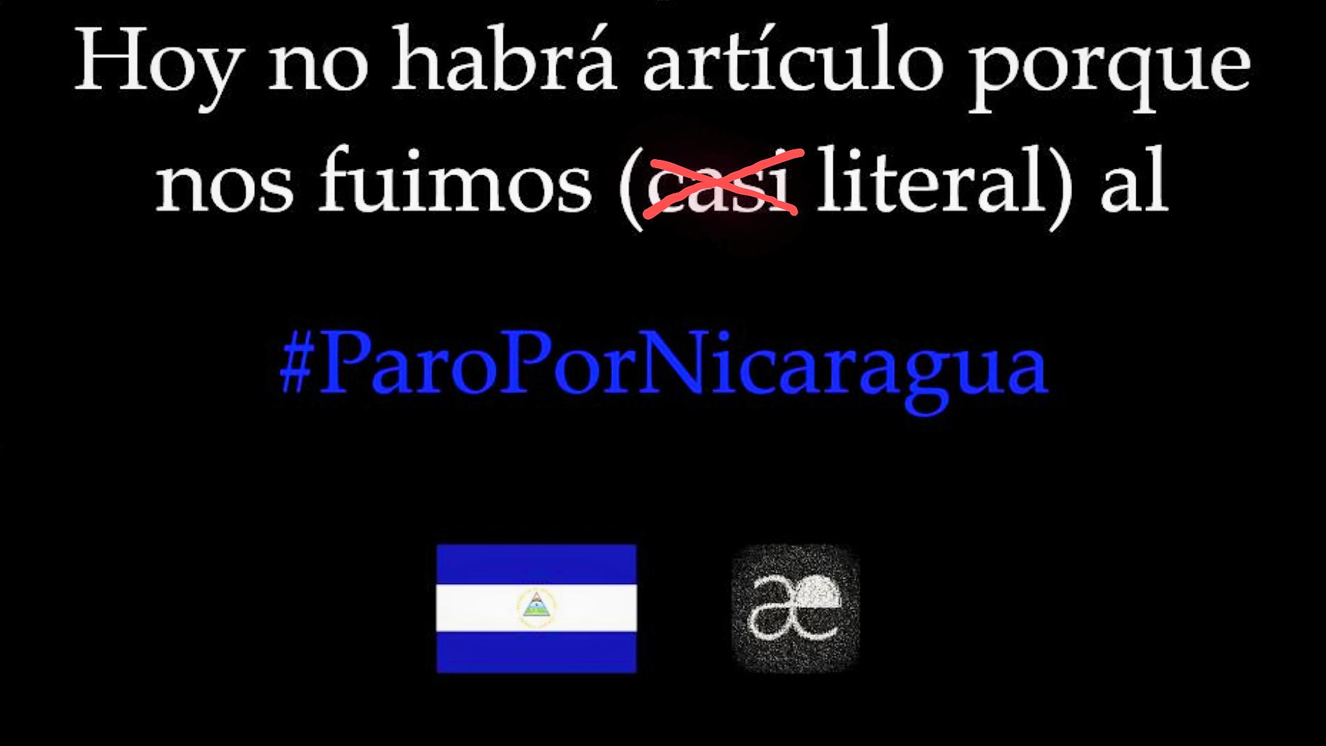 #ParoPorNicaragua